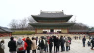 timelapse - crowded people in Changdeokgung Palace, South Korea video