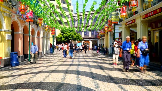 Timelapse crowded people in macau market video