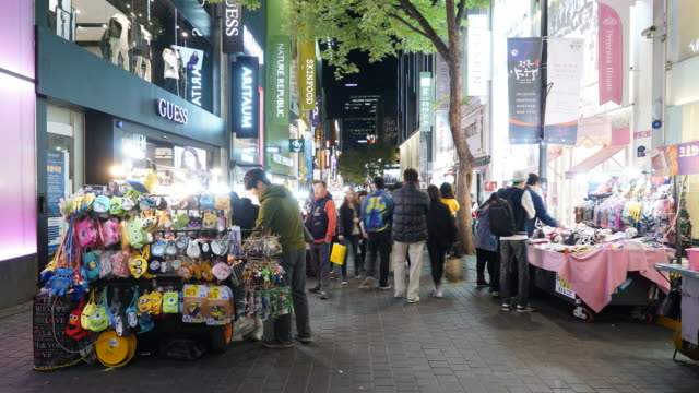 Timelapse : Crowded people in Myeong-dong market in korea city video