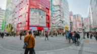 4K Time-lapse : Crowds on the road in Akihabara. The historic electronics district has evolved into a shopping area for video games, anime, manga, and computer goods. video
