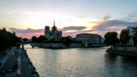 HD Timelapse: Day to Night Notre Dame Cathedral Paris, France video