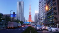 Timelapse day to night of Tokyo Tower video