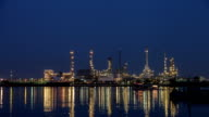 Timelapse day to night oil refinery video