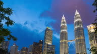 4K Timelapse Day to night: Petronas Twin Towers video