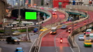 4K Timelapse Day to Night (4096x2160) : TimeLapse of Highway Traffic Downtown in Bangkok Thailand video