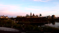 Timelapse day to night view of Canada's Parliament video