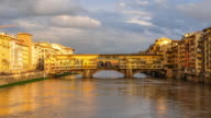 4K Time-lapse Daylight of Ponte Vecchio at sunset, Florence, Tuscany, Italy. video