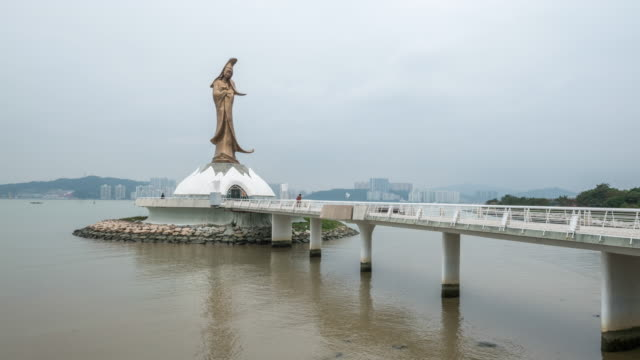 Time-lapse daylight Statue of kun iam Macau video