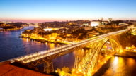 HD Timelapse: Dom Luiz bridge Porto Cityscape Portugal at dusk video
