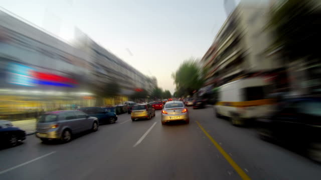 Timelapse Driving at high speed through the streets at night video