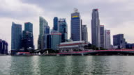HD Time-lapse : Dusk to Night skyline of Business District, Singapore. video