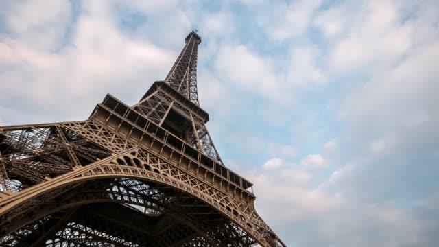 Timelapse: Eiffel Tower Paris with cloudscape evening, France video