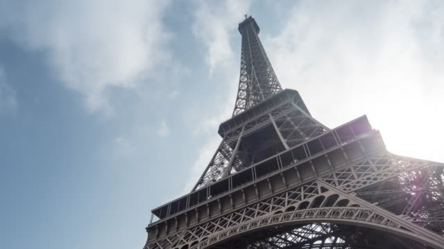 Timelapse: Eiffel Tower Paris with sunlight and cloudscape, France video