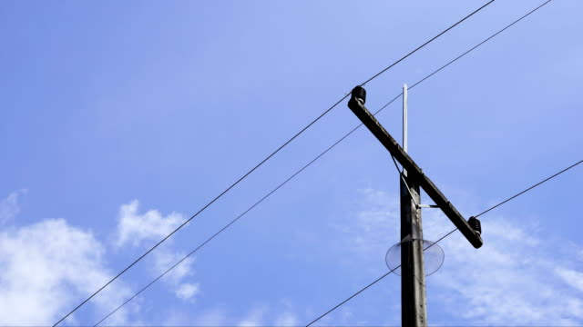 timelapse electric pole with blue sky video