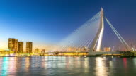 4K time-lapse: Erasmus bridge Rotterdam, Netherlands at dusk video