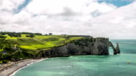 HD Timelapse: Etretat village and Aval cliff Normandy, France video