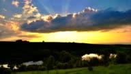 'TimeLapse': Fantastic Landscape Epic Sunset Nature Summer Cloudscape Panorama. video