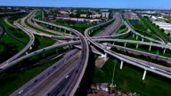 Timelapse Fast Shot Futuristic Over Pass Highway Interchange Overpass Fly Over Aerial Transportation in Austin , TX video
