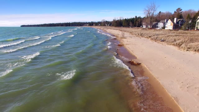 Time-Lapse flight over the shores of Lake Michigan in Springtime video