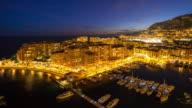 Time-lapse: Fontvieille Monaco Monaco French Riviera Night video