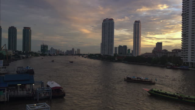 Time-lapse from Taksin bridge of Chao Phraya River,Thailand (4k) video