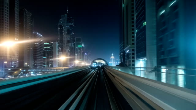 Timelapse from windshield window of the first wagon of Dubai metro video