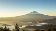 4K Time-lapse: Fujisan sunrise with kawaguchiko lake aerial view video
