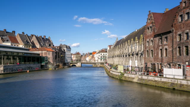 time-lapse: Ghent ancient town Belgium along Leie River video