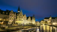 time-lapse: Ghent ancient town Belgium night video