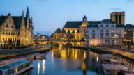 4K time-lapse: Ghent ancient town Belgium night video