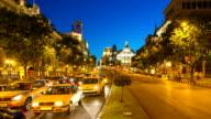 HD Timelapse: Gran Via Madrid Spain at dusk video