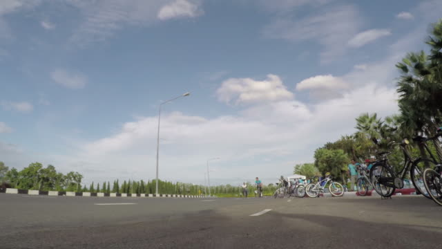 Time-lapse group of cyclists On street for campaign in Thailand video