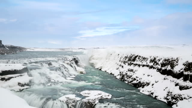 HD Time-lapse: Gulfoss Golden Falls waterfall Iceland in winter video