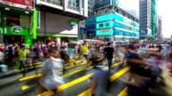 Time-lapse HD: Pedestrians at causeway bay crossing Street Hong Kong video