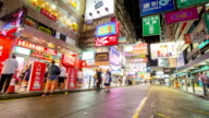 Time-lapse HD: Pedestrians at Mong Kok Shopping Street Hong Kong video