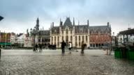 HD time-lapse: Historic Building at Market square Bruges Belgium video