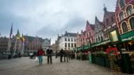 time-lapse: Historic Building at Market square Bruges Belgium video