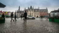 4K time-lapse: Historic Building at Market square Bruges Belgium video