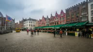 time-lapse: Historic Building at Market square Bruges Belgium video