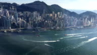 Time-lapse Hong Kong victoria harbor view from top pan left video