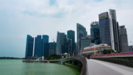 Timelapse in motion, Singapore downtown and  merlion statue fountain with the city skyline video