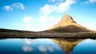HD Time-lapse: Kirkjufell Mountain Snaefellsnes Peninsula, waterfall landscape Iceland video