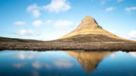 4K Time-lapse: Kirkjufell Mountain Snaefellsnes Peninsula, waterfall landscape Iceland video