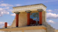 Timelapse. Knossos palace. Detail of ancient ruins of famous Minoan palace of Knosos. Crete island, Greece video