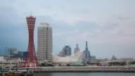 4K Time-lapse: Kobe Port Tower Kansai Japan at dusk video