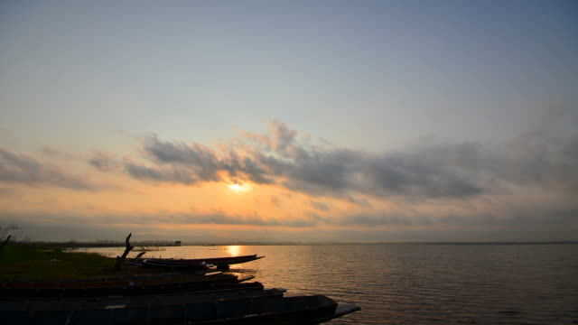 Time-lapse: Lake Scenic at Silhouette Sunrise video