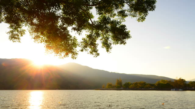 Time-lapse: Lake Scenic Landscape at Sunset video
