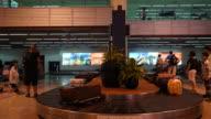 Timelapse luggage on conveyor belt in airport video