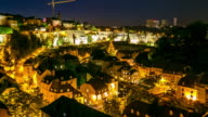 4K Time-lapse: luxembourg city old town Cityscape at dusk video