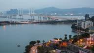 Time-lapse Macau Bridge Landmark Place Of Macau China day at night video